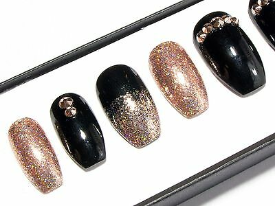 Rose Gold Chrome, Black & Crystal Press On Gel Acrylic Fake False Glue Nails Set
