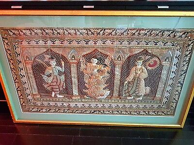 Kalaga Tapestry - Burma Thailand - Embroidery Beads Sequins - Large