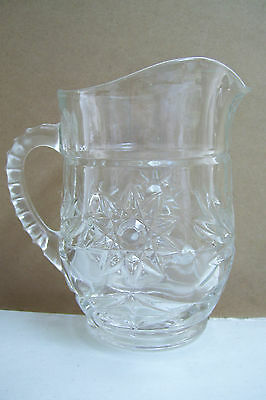 "Crystal Clear Glass Star Large Creamer Or Small Water Jug Pitcher 5.5"" Tall"