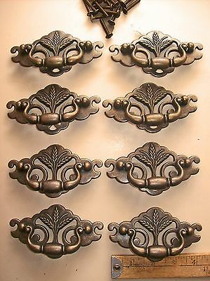 10 Vintage Bail Drawer Pulls Lot Keeler Brass Co USA Black & Brass Wheat NOS