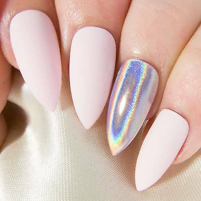 Matte Baby Pink Holographic Chrome Press On Gel Acrylic Fake False Glue Nail Set
