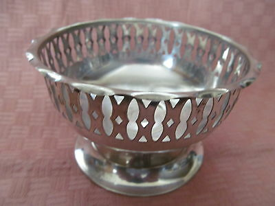 Antque European Sterling Silver Footed, Pierced Bowl 55 G.= Vgc