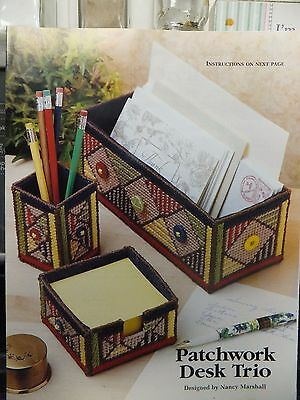 Pretty Patchwork Desk Set with Buttons Pattern(s) in Plastic Canvas
