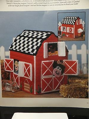 Adorable Red Barn Tissue Topper Pattern(s) in Plastic Canvas