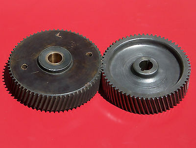 """Helical Matched Right & Left Hand 24-Pound Gear Set about 8"""" Diameter x 2"""" Thick"""