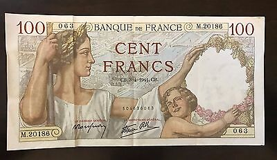 France 100 Francs 1941 Banknote WWII world war 2 collection allied