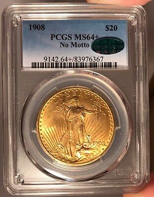 1908 $20 PCGS MS 64+ CAC St. Gauden's Gold Double Eagle - No Motto