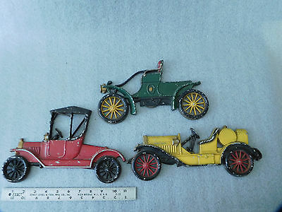 Vintage Set of 3 Sexton USA Old Antique Metal Cars for Wall Display