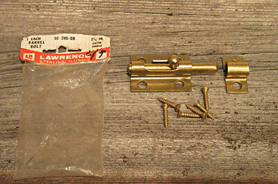 Vintage Sliding Barrel Bolt Lock Brass-plated - 2.5 inches long made in USA
