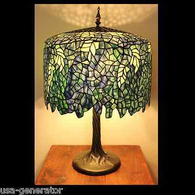 """Table Lamp 3 Light Stained Cut Glass Tiffany Style Wisteria Metal Base 18""""x 27"""""""