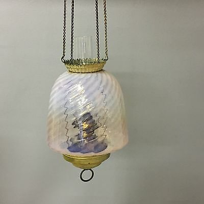 Antique Pink Opalescent Victorian Art Glass Hanging Pull Down Oil Lamp / Lantern