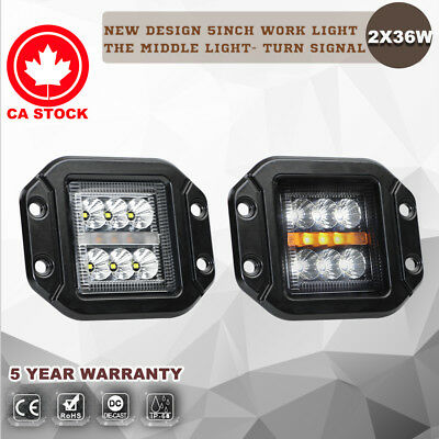 2X 5'' Inch 36W Flood LED Work Light Bar Flush Mount Reverse Turn Signal Driving