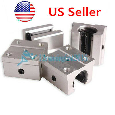 Pack of 4 SBR12UU 12mm Aluminum Linear Router Motion Bearing Solide Block USA