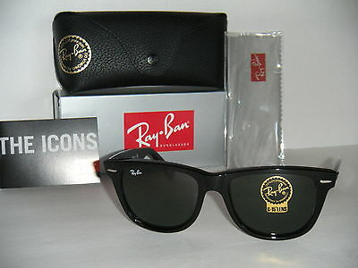 Ray Ban ORIGINAL WAYFARER RB 2140 901 BLACK G-15XLT LARGE, FAST SHIPPING USA