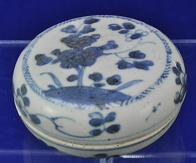 Antique Ca Mau Cargo Blue and White Chinese Covered Porcelain Box Jar 1725