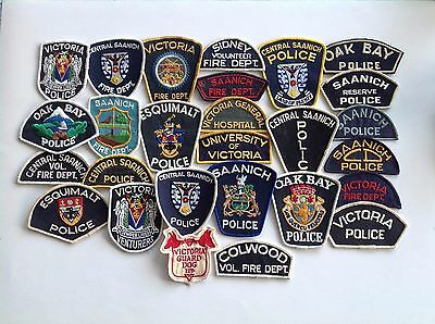 Vintage Canadian police shoulder patches 1970's/80's Vancouver Island