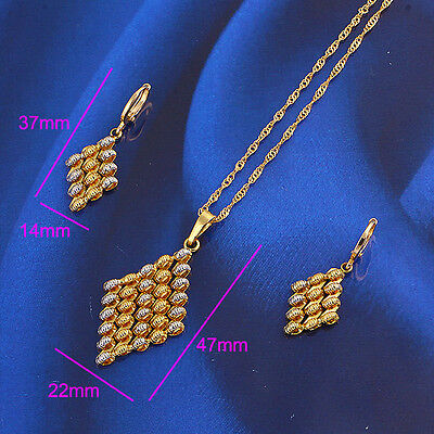 18k Yellow Gold Filled Multicolor Women's Fashion Necklace Earrings- 2 piece set