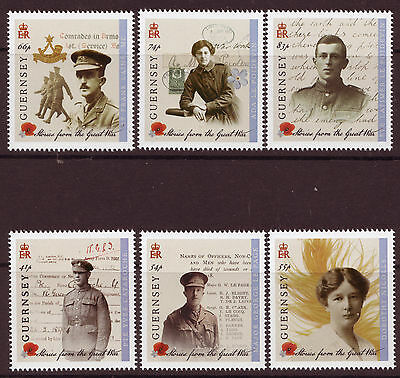 Guernsey 2014 Stories From The Great War  Set Of 6 Mounted Mint.