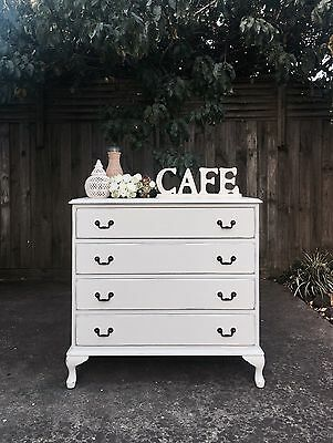 FRENCH PROVINCIAL White Shabby Chic Dressing/change TABLE Chest Of Drawers