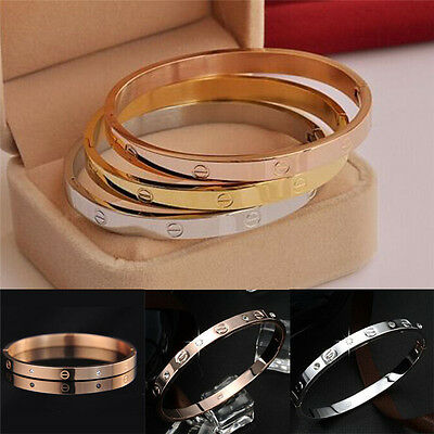 10K Gold-plated Stainless Steel Women's Cuff Bangle Jewelry Crystal Bracelet New