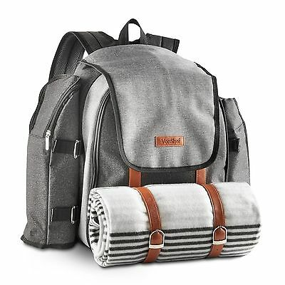 VonShef 4 Person Picnic Backpack Bag Set With Blanket Premium Woven Grey