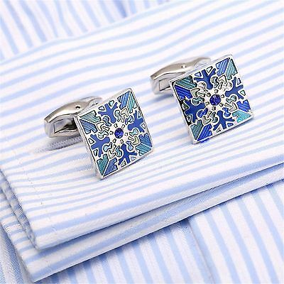 2017 New Square Blue Floral Engraved Cuff Link Silver Plated Metal Men Cufflinks