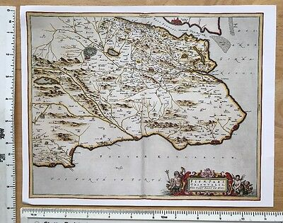 Old Antique 17th Century Historical Map East Part of Fife, Scotland: Reprint