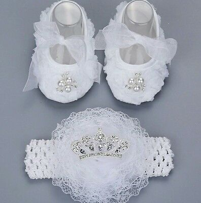Girls Diamante Crystal Diamond Christening Shoes Headband Set Wedding Occasion