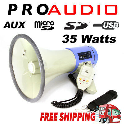 MEGAPHONE Bull Horn 35Watts Siren with USB SD AUX Player Handheld PA Loudspeaker