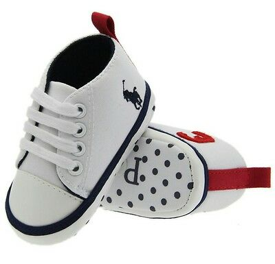 baby polo horse shoes trainers pram shoes white canvas