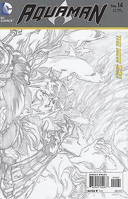 AQUAMAN 14. Sketch..NM-..2013...New 52...Geoff Johns,Pete Woods...VVHTF Bargain!