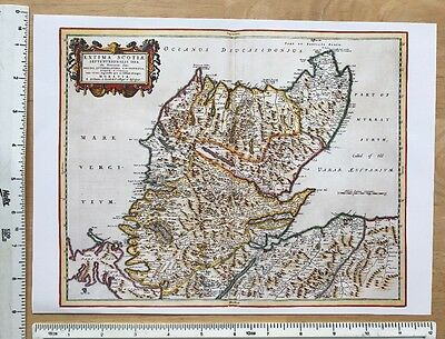 Old Antique 17th Century Historical Map North Scotland: Reprint