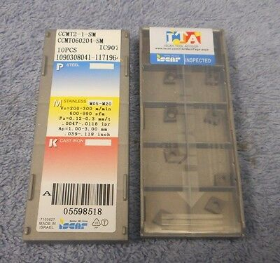 Iscar    Carbide Inserts  Ccmt 060204 -Sm   Sealed  Pack Of 10   Grade Ic907