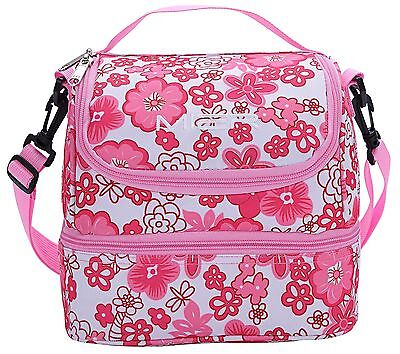 MIER 2 Compartment Insulated Lunch Bag Cooler Lunch Box Tote For Kids Brand New