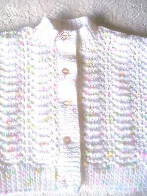 Hand Knitted  Baby Cardigan White with coloured flecks