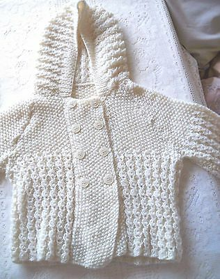 Hand Knitted Cream Baby Jacket with Hood