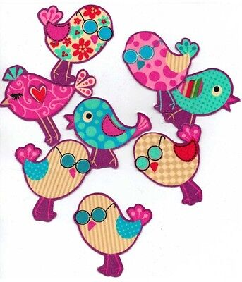 Doodle Birds - Iron On Fabric Appliques