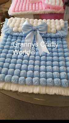 Baby Pompom Blanket - Baby Blue & White Acrylic with Satin Bow