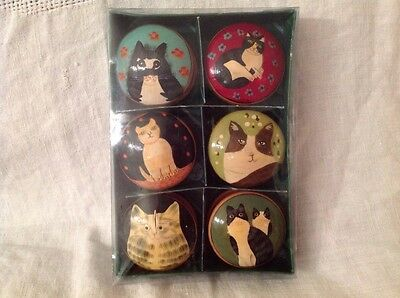 Wooden Boxes Hand Painted Cats Folk Art Set 6