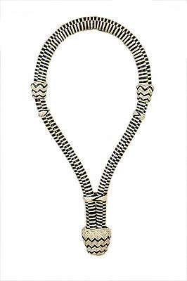 "Western Black/Natural Rawhide Braided  5/8"" Bosal With Knots"