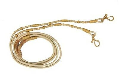 Western Rawhide Braided Romel Reins with Natural Rawhide Knots