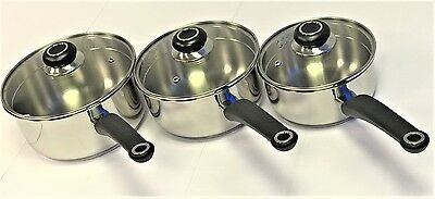 Morphy Richards Equip Pour & Drain 3 piece stainless steel pan set NEW