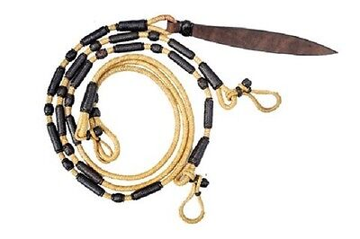 Western Leather Rawhide Braided Rommel Reins with Leather Popper