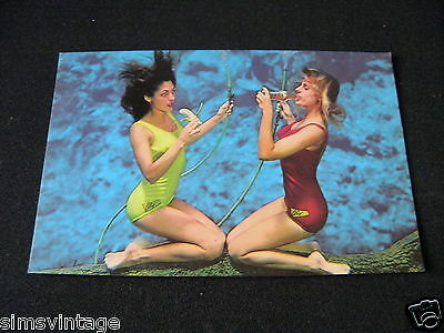 Unusual Weird Postcard Florida's Weeki Wachee Women eating drinking under water