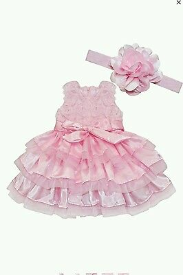 Cute Baby Girls Rosette Tunic Princess Dress with Flower headband Pink (size 2T)