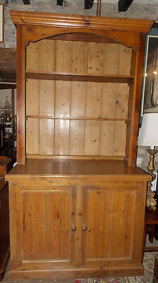 Antique 20th C chunky pine DRESSER bookcase on cupboard Kitchen large Farmhouse