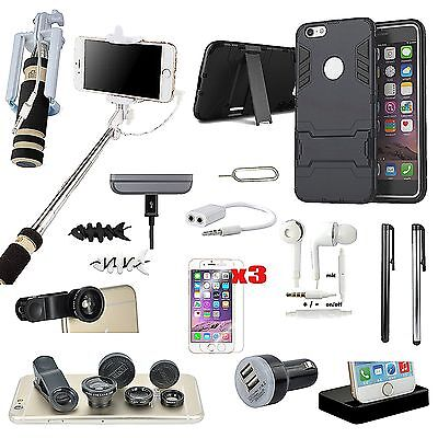 Black Kickstand Case Charger Monopod Fish Eye Accessory Kit For iPhone 5S 5SE SE