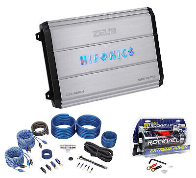 Hifonics Zeus ZXX-1000.4 1000w RMS 4-Ch Car Amplifier Class AB+Amp Kit+Capacitor