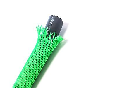Neon Green Braided Expandable Flex Sleeve Wiring Cable Harness Loom Wire Cover