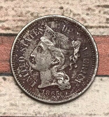 1865 3C Three Cent Nickel Piece Vintage US Copper Coin #OT37
